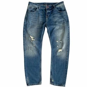 """Zara Relaxed Fit """"Dirty"""" Distressed with Rip Detailing Straight Leg Jeans"""